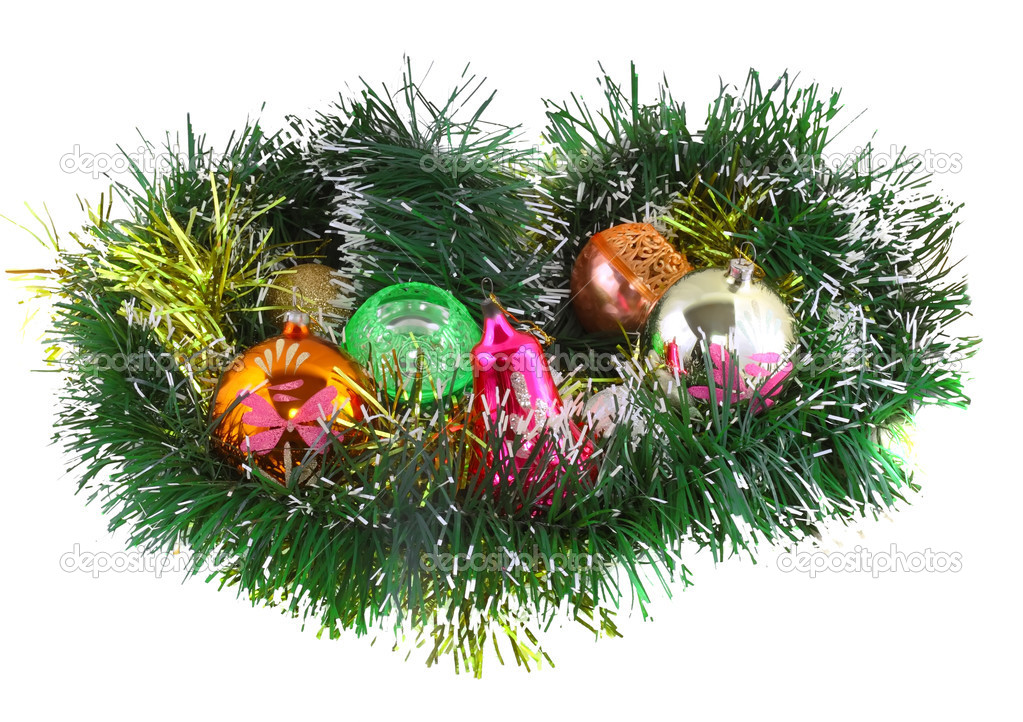 Christmas and New Year decoration- glass balls, green tinsel . Close-Up. On white background, isolated.  Stock Photo #6514083