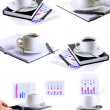Business collage,collection-coffee cup,organizer. — Stock Photo