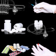 Collage of medicine- pills,bottle, syringe. — 图库照片