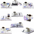 Royalty-Free Stock Photo: Business collage,collection-coffee cup,organizer.
