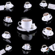 Stock Photo: Collage of various coffee cups with coffee.