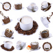 Collage of various coffee cups with coffee. — Stock Photo