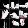 Collage of medicine- pills,bottle, syringe. — Foto Stock