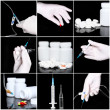 Collage of medicine- pills,bottle, syringe. — Stok fotoğraf