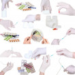 Collage of medicine-pills,bottle,syringe etc. - Stockfoto