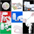 Collage of medicine- pills,bottle, syringe. — Stockfoto
