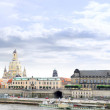 Dresden panorama from Elbe bridge. - Stock Photo