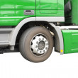 Big green truck. Isolated over white. - Stock Photo