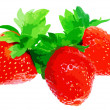 Three fresh strawberries. — Stock Photo