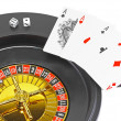 Royalty-Free Stock Photo: Four aces and dice on white background.