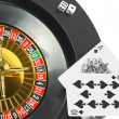 Spin casino roulette, dice,playing cards. Isolated — Stock Photo