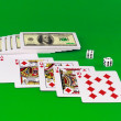 Royal flesh- playing cards on green broadcloth. — Stock Photo