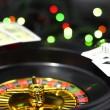 Casino roulette, dice and playing cards. — Stock Photo