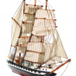 Stock Photo: Model of sailing frigate. Isolated.