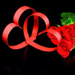Royalty-Free Stock Photo: St. Valentine Day. Two hearts, red roses.