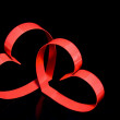St. Valentine Day.Two hearts, on black background — 图库照片