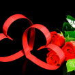 Stock Photo: St. Valentine Day. Two hearts, red roses.