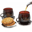 Still life - cookies, two cups and pouring tea. — Stok fotoğraf