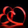 St. Valentine Day.Two hearts, on black background — Стоковая фотография