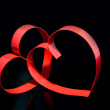 St. Valentine Day.Two hearts, on black background — Stockfoto