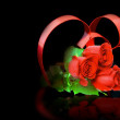 St. Valentine Day. Two hearts, red roses. — Stock Photo