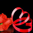 St. Valentine Day. Two hearts, red roses. — Stock Photo #6596380