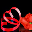 St. Valentine Day. Two hearts, red roses. — Stock Photo #6596381