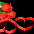 St. Valentine Day. Two hearts, red roses. — Stock Photo #6596450