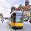 Urban life of Dresden,  speed Tram — Stock Photo