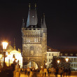 View to Tower on Charles Bridge,night Prague. — Stock Photo