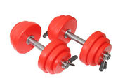 A sporting equipment - two red dumbbells. Isolated — Stock Photo
