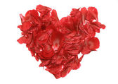 A heart of rose petals — Stock Photo
