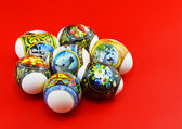 Easter eggs on colour background. — Stock Photo