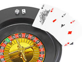 Four aces and dice on white background. — Stock Photo