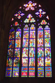 Stained-glass window in Catholic temple. — Stock Photo