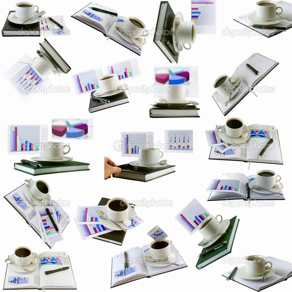 Business collage, collection-coffee cup, standing on the organizer. Isolated — Stock Photo #6595312