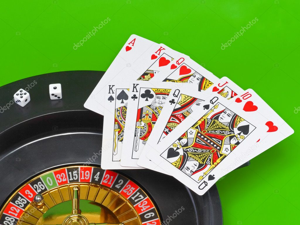 Casino- playing cards on green broadcloth (background). — Stock Photo #6595769