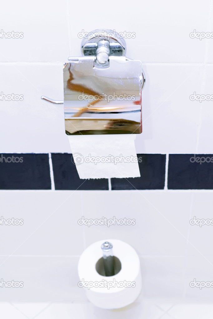 Roll of toilet paper holder in the  white toilet. — Stock Photo #6596017