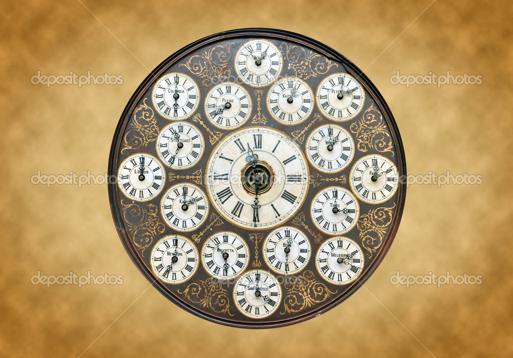 Antique Clock With World Time On It — Stock Photo #6696064