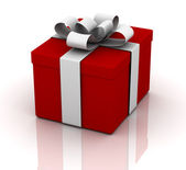 Red Gift Box on white — Stock Photo