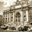 Trevi Fountain, sepia toned picture - Stock Photo