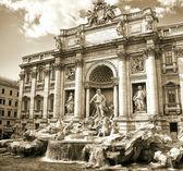 Trevi Fountain, sepia toned picture — Stock Photo