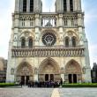 Notre Dam de Paris. Wide angle view. — Stock Photo