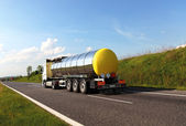 Fuel tanker truck (names removed) — Stock Photo
