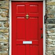 Red english door - Stock Photo