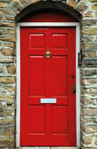 Red english door — Stock Photo