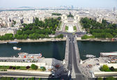 A view of Paris, captured from the Eiffel Tower, France — Stock Photo