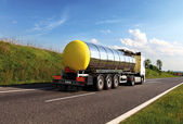 Oil transporting lorry on the road — Stock Photo
