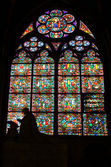 Stained-glass window of Notre Dame de Paris — Stock Photo