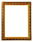 Gold color wooden photo frame — Stock Photo